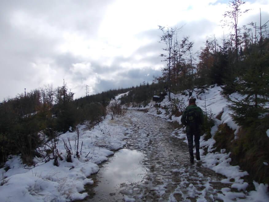 Śniegowa plucha w drodze na Magurę