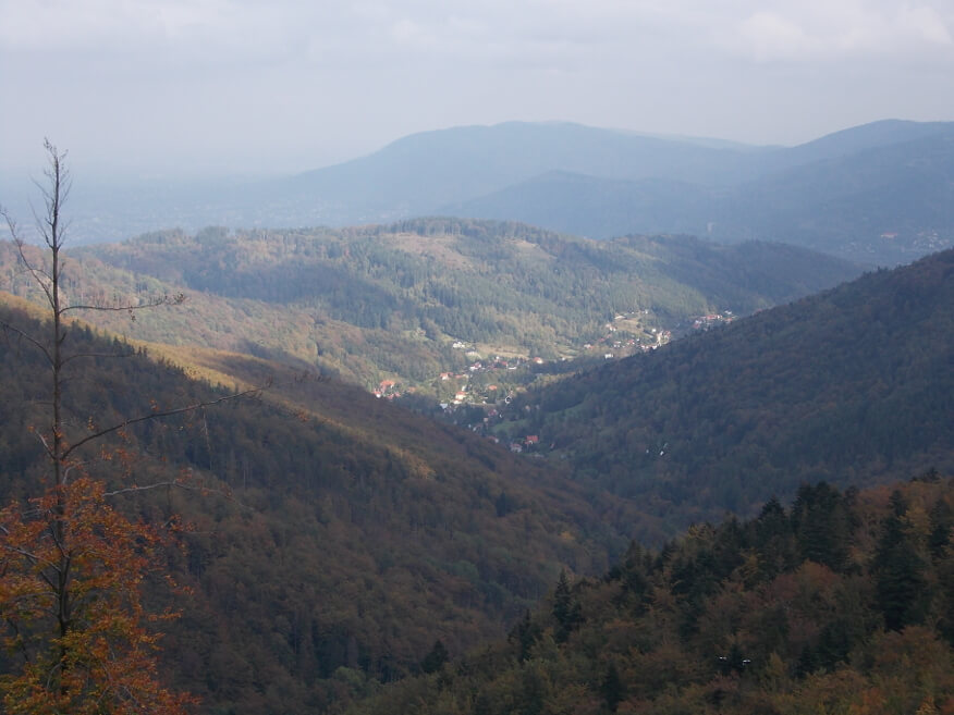 Bystra Śląska z zielonego szlaku na Przełęcz Kołowrót