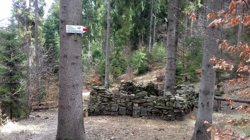 Ruiny szałasu kamiennego w pobliżu Cisowych Grap