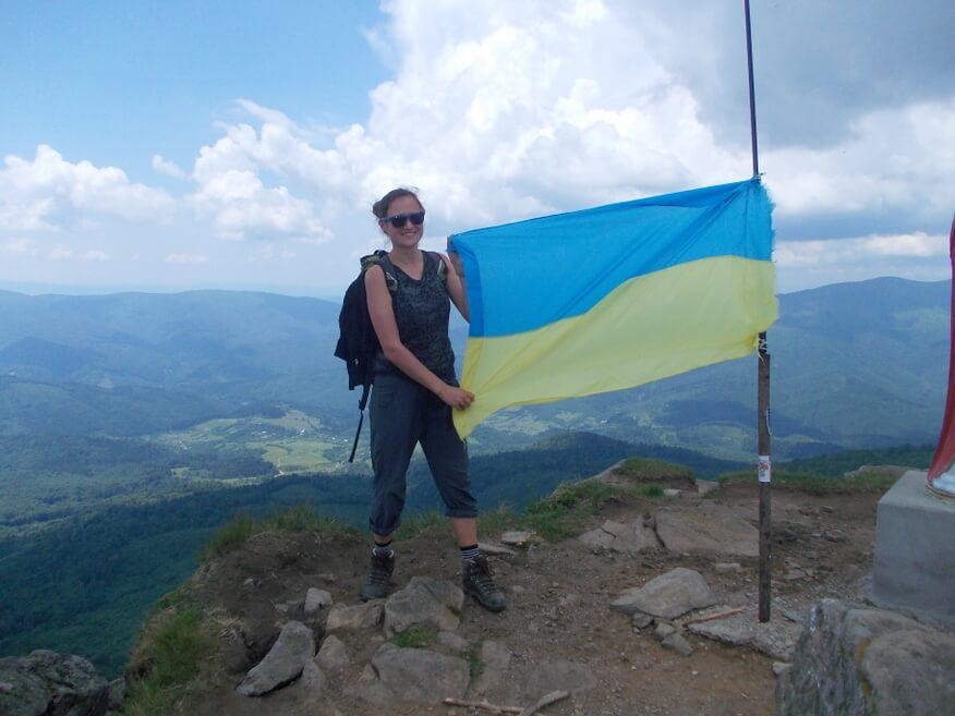 Ja z ukraińską flagą na Pikuju