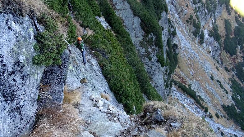 Chyba najtrudniejsze miejsce na trawersie z Doliny Jastrzębiej do Dzikiej