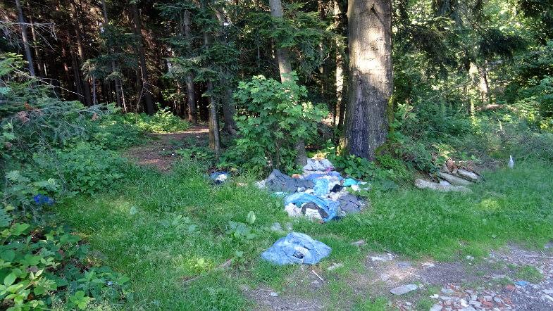 Śmieci przy szlaku